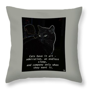 Throw Pillow featuring the mixed media Cats Have It All by Charles Shoup