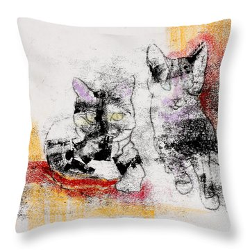 Cats In Color Throw Pillow