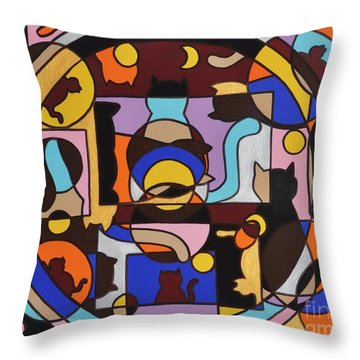 Cats In Focus Throw Pillow by Reb Frost