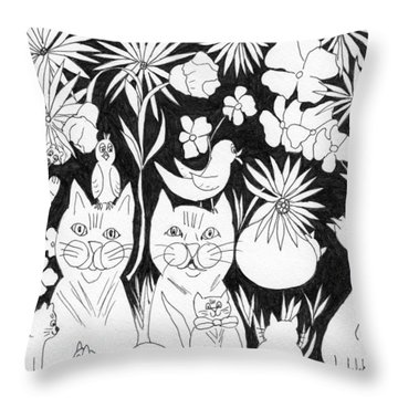Throw Pillow featuring the drawing Cats In The Garden by Lou Belcher