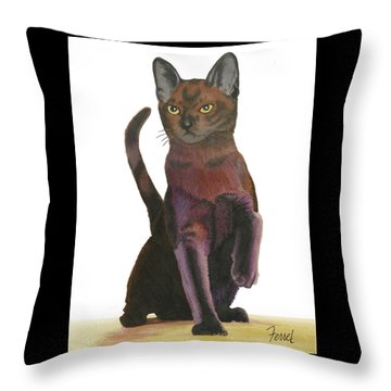 Throw Pillow featuring the painting Cats Meow by Ferrel Cordle