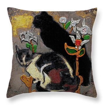 Throw Pillow featuring the mixed media Cats by Pemaro
