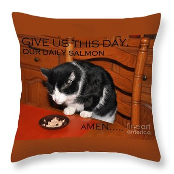 Cat's Prayer Revisited By Teddy The Ninja Cat Throw Pillow
