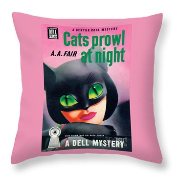 Cats Prowl At Night Throw Pillow
