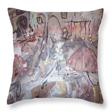 Cats Singing In The Rain Throw Pillow by Judith Desrosiers