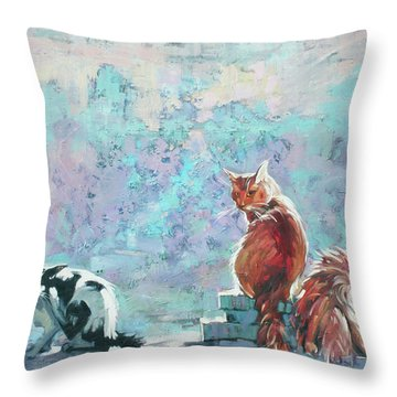 Throw Pillow featuring the painting Cats. Washed By Rain by Anastasija Kraineva