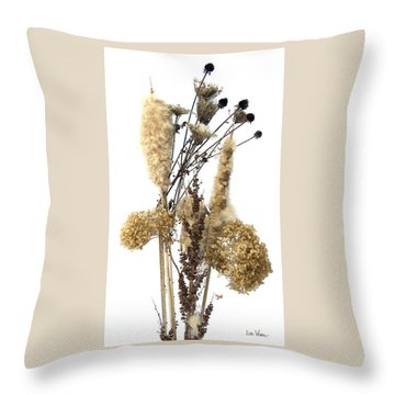 Throw Pillow featuring the digital art Cattails And November Flowers II by Lise Winne
