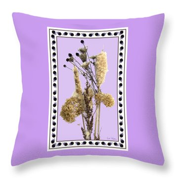 Throw Pillow featuring the digital art Cattails And November Flowers by Lise Winne