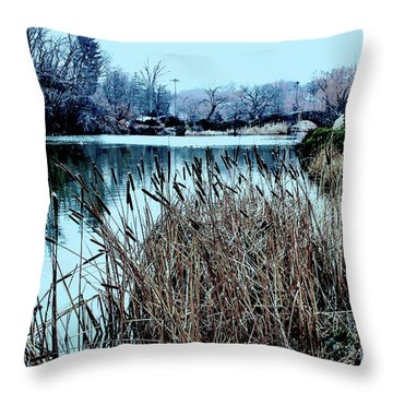 Cattails On The Water Throw Pillow by Sandy Moulder