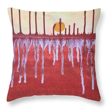 Cattails Original Painting Sold Throw Pillow