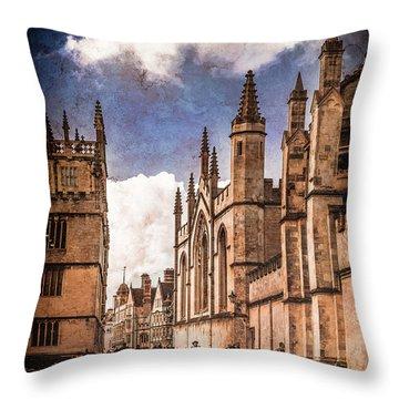 Oxford, England - Catte Street Throw Pillow