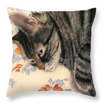 Throw Pillow featuring the painting Cattitude by Anastasiya Malakhova