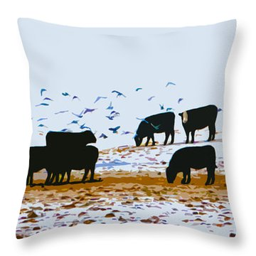 Cattle And Birds Throw Pillow