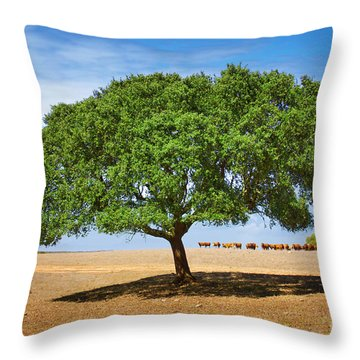 Cattle And Tree Throw Pillow