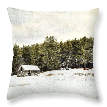 Cattle At The Feeder - Textured Throw Pillow