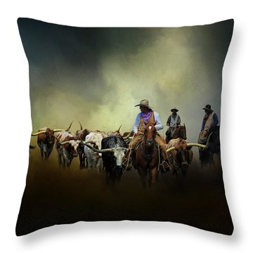 Cattle Drive At Dawn Throw Pillow