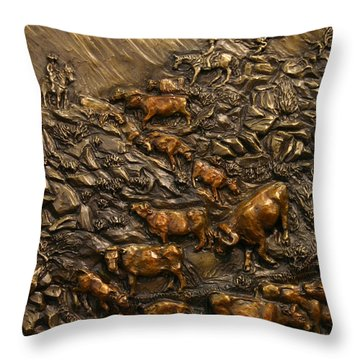 Cattle Drive Throw Pillow by Dawn Senior-Trask