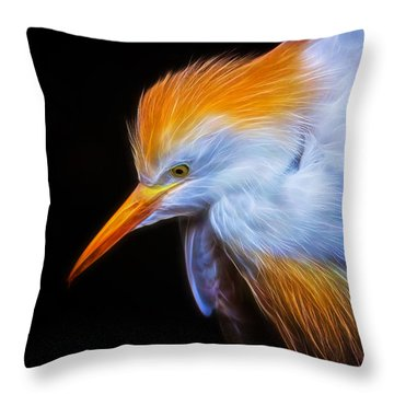 Cattle Egret Electrified Throw Pillow by David Gn