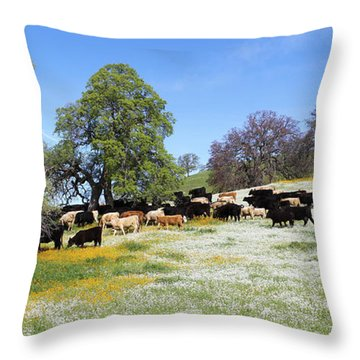 Cattle N Flowers Throw Pillow