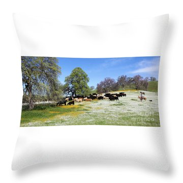 Cattle N Flowers Throw Pillow by Diane Bohna