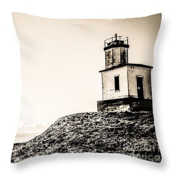 Cattle Point Lighthouse Throw Pillow by William Wyckoff