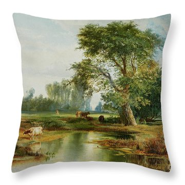 Cattle Watering Throw Pillow