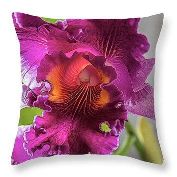 Cattleya Throw Pillow by Alana Thrower