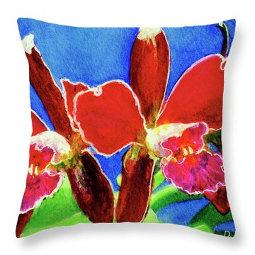 Cattleya Orchids Flowers #215 Throw Pillow by Donald k Hall