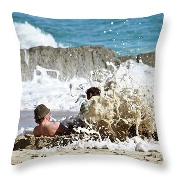 Throw Pillow featuring the photograph Caught From Behind by Terri Waters