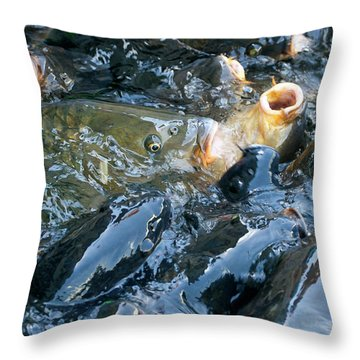 Caught In The Masses Throw Pillow