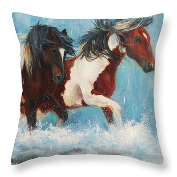 Throw Pillow featuring the painting Caught In The Rain  Close Up by Karen Kennedy Chatham