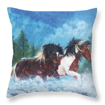 Throw Pillow featuring the painting Caught In The Rain  by Karen Kennedy Chatham