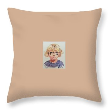 Throw Pillow featuring the painting Caught With A Makeup-mess-mila by Kevin F Heuman