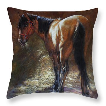 Throw Pillow featuring the painting Caught With A Mouthful by Harvie Brown