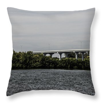 Causeway Over The Indian River Throw Pillow by Nance Larson