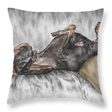 Caution Guard Dog - Doberman Pinscher Print Color Tinted Throw Pillow