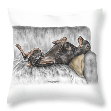 Throw Pillow featuring the drawing Caution Guard Dog - Doberman Pinscher Print Color Tinted by Kelli Swan