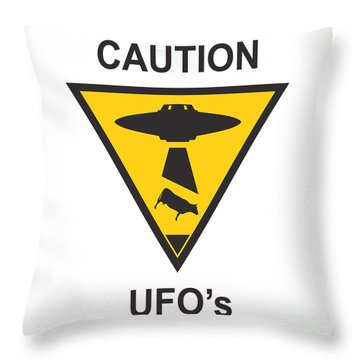 Caution Ufos Throw Pillow by Pixel Chimp