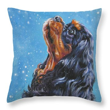 Cavalier King Charles Spaniel Black And Tan In Snow Throw Pillow
