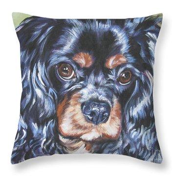 Cavalier King Charles Spaniel Black And Tan Throw Pillow by Lee Ann Shepard