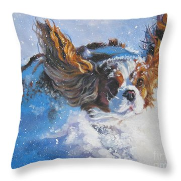 Cavalier King Charles Spaniel Blenheim In Snow Throw Pillow