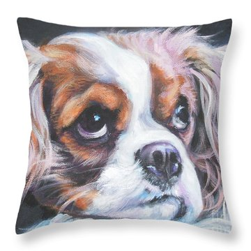 Cavalier King Charles Spaniel Blenheim Throw Pillow by Lee Ann Shepard