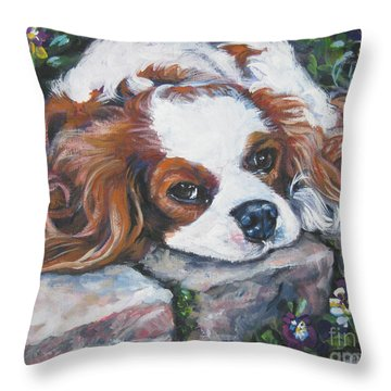 Cavalier King Charles Spaniel In The Pansies  Throw Pillow