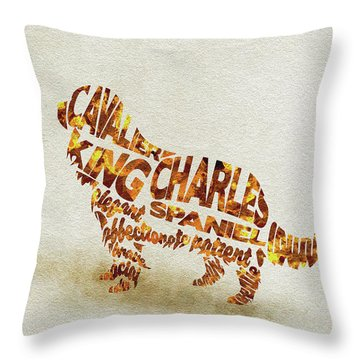 Throw Pillow featuring the painting Cavalier King Charles Spaniel Watercolor Painting / Typographic Art by Ayse and Deniz