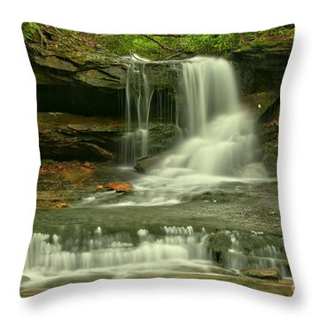 Cave Falls In The Laurel Highlands Throw Pillow