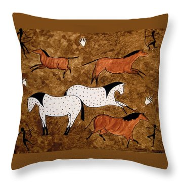 Cave Horses Throw Pillow by Stephanie Moore