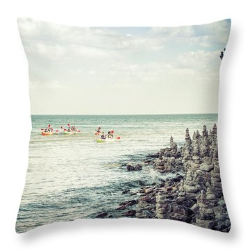 Throw Pillow featuring the photograph Cave Point Rock Formations by Joel Witmeyer