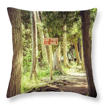 Throw Pillow featuring the photograph Cave Point Trails by Joel Witmeyer