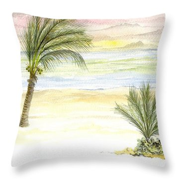 Cayman Beach Throw Pillow by Darren Cannell