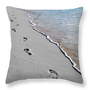 Throw Pillow featuring the digital art Cayman Footprints Color Splash Black And White by Shawn O'Brien